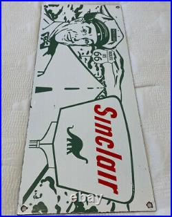 Vintage Sinclair Motor Oil Porcelain Sign Route 66 Gas Station Gasoline Dino