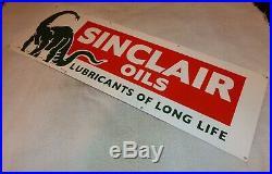 Vintage Sinclair Oils+ Dino The Dinosaur 36 Porcelain Metal Gasoline & Oil Sign