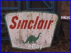 Vintage Sinclair Sign Porcelain Gas Station Sign 5'x7' & Hanger Original