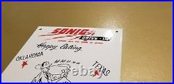 Vintage Sonic Drive In Porcelain Fast Food Restaurant Burgers Service Store Sign