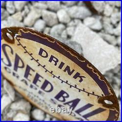 Vintage Speed Ball Grape Soda Porcelain Metal Sign Gas Oil Us Pop Drink Baseball