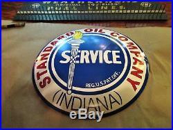Vintage Standard Oil Company Service Convex Porcelain Metal Gas & Oil Sign