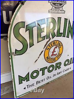 Vintage Sterling Motor Oil Double Sided Porcelain Sign Gas Oil NO RESERVE