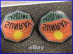 Vintage Sunray Gasoline 13.25 Gas Pump Ripple Globe Lenses Not Porcelain Sign