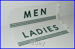 Vintage TEXACO Gas Service Station Restroom Flange Sign Set Men Ladies Porcelain