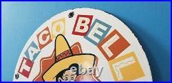 Vintage Taco Bell Porcelain Fast Food Service Restaurant Drive Thru Tacos Sign