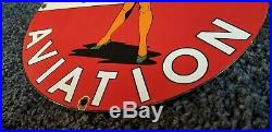 Vintage Texaco Aviation Pinup Girl Airplane 11 3/4 Porcelain Metal Gas Oil Sign