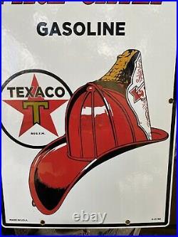 Vintage Texaco Fire Chief Gasoline Porcelain Metal Sign USA Oil Gas Pump Plate