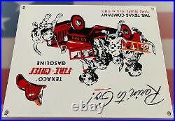 Vintage Texaco Fire-chief Gasoline Porcelain Sign 101 Dalmatians Fighter Truck