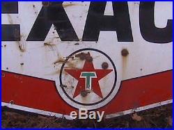 Vintage Texaco Gas Station Sign Porcelain Original Service Station 7' Real