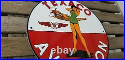 Vintage Texaco Gasoline Porcelain Gas & Motor Oil Military Service Aviation Sign