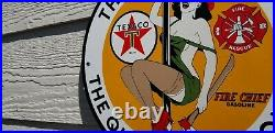 Vintage Texaco Gasoline Porcelain Gas Oil Fire Chief Hotter It Is Service Sign
