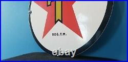 Vintage Texaco Gasoline Porcelain Gas Oil Texas Service Station Pump Plate Sign