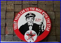 Vintage Texaco Gasoline Porcelain Service Station Gas Attendant Pump Plate Sign