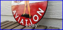 Vintage Texaco Gasoline Porcelain Service Station Military Gas Oil Airplane Sign