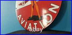 Vintage Texaco Gasoline Porcelain Ww2 Airplane Military Gas Service Station Sign