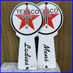 Vintage Texaco Restroom Key Plate Porcelain Metal Sign Die Cut Ladies Mens Room