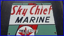 Vintage Texaco Sky Chief Marine porcelain sign metal garage nautical boat ship