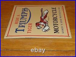 Vintage Triumph Motorcycle Dealer Tiger 10 Porcelain Metal Gasoline & Oil Sign