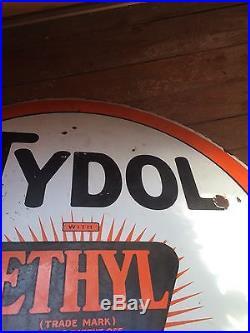 Vintage Tydol Ethyl Sign 30 Round Double Sided Porcelain