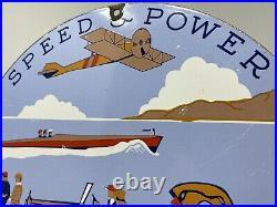 Vintage Union Gasoline Porcelain Sign Gas Station Pump Plate Speed Power Oil