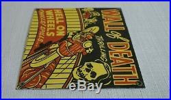 Vintage Wall Of Death Porcelain Sign Gas Motor Oil Station Gasoline Pump Ad Rare