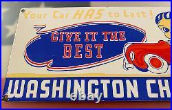 Vintage Washington Gasoline Porcelain Sign Chief Gas Station Pump Plate Oil