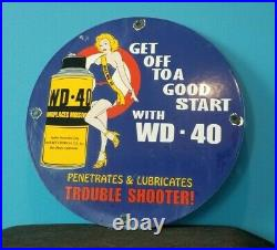 Vintage Wd 40 Porcelain Gas Oil Lube Pin Up Girl Service Station Pump Sign