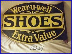 Vintage Wear-U-Well Shoes Porcelain Sign Double-sided Flange 25 x 17