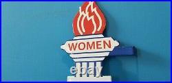 Vintage Womens Standard Gasoline Porcelain Gas & Oil Service Torch Restroom Sign