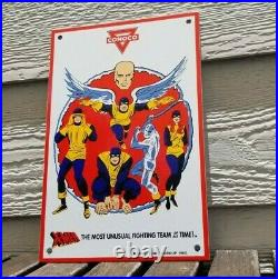 Vintage X-men Comics Porcelain Conoco Gasoline Service Station Superhero Sign