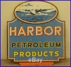 Vintage XLarge 2 sided HARBOR PETROLEUM PRODUCTS Porcelain Gas & Oil Sign