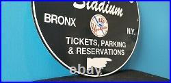 Vintage Yankees Porcelain Baseball Major League Baseball Tickets Stadium Sign