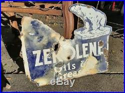 Vintage Zerolene porcelain flange sign