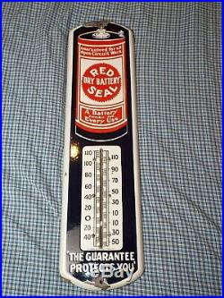 Vintage c. 1915 Red Seal Battery Gas Oil 27 Porcelain Metal Thermometer Sign