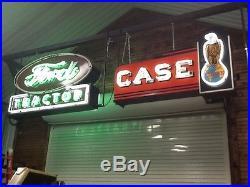 Vintage case double sided porcelain neon sign, ford john deere sign