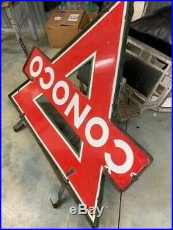 Vintage collectible Double sided porcelain Conoco sign