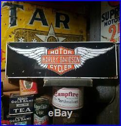 Vintage old porcelain Harley Davidson motor cycle dealer sign Gas oil garage