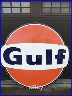Vintage porcelain 6 Single Sided GULF gas oil auto sign