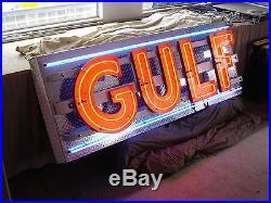 Vintage porcelain gulf neon sign