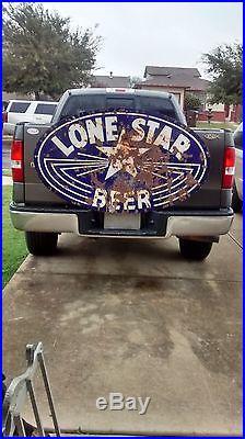 Vtg 1930s 2 Sided 56 x 33 ORIGINAL Lone Star Beer Porcelain Sign Gas Oil RARE