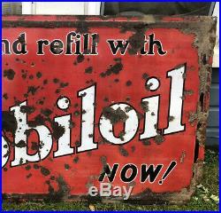 Vtg 1930s Mobiloil Gargoyle Drain & Refill SSP Porcelain Sign 5x3 Mobil Oil