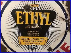 Vtg 1930s Red Crown Gasoline 30 DSP Porcelain Ethyl Standard Gas Station Sign