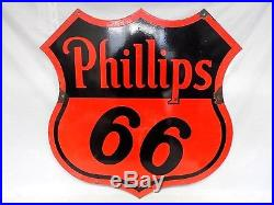 Vtg 2-Sided Porcelain Metal PHILLIPS 66 Advertising Sign 29 x 29.75 Original