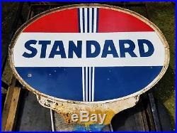 Vtg Antique Standard Oil Gas Pump Service Station Double Sided Porcelain Sign