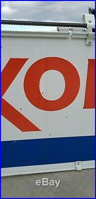 Vtg DOUBLE-SIDED PORCELAIN EXXON Gas Station Sign Original Frame & Hangers 52x28