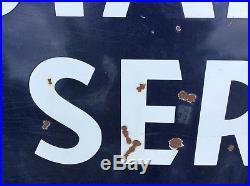 Vtg Original 8'x4' STANDARD SERVICE Porcelain Advertising Sign Gas Oil Station