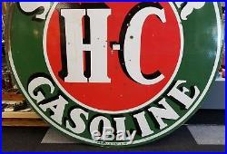 Vtg Original Sinclair H-c Gas 48 Porcelain Sign Double Sided Heavy Veribrite