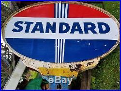 Vtg Standard Service Station Gas Oil Double Side 5' X 7' Porcelain Sign 12' Pole