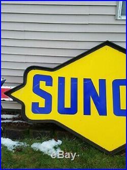 Vtg Sunoco Gas Station Gasoline Motor Oil Double Sided Porcelain Pole Sign 11